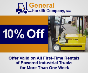 10% Off - Offer Valid on All First-Time Powered Industrial Trucks Rental for More than One Week